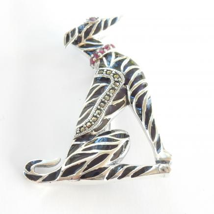 Silver Ruby & Black Enamel Greyhound Brooch