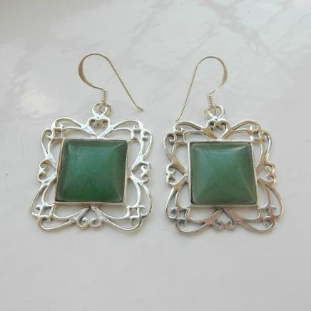 Photo of Silver & Jade Drop Earrings