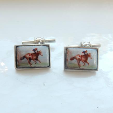 Photo of Pair Silver & Enamel Horse Racing Cufflinks