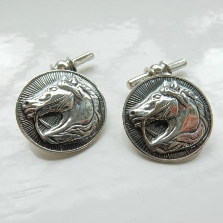 Photo of Pair Solid Silver Horse Cufflinks