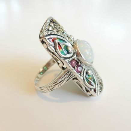 Photo of Solid Silver Gilson Opal & Enamel Ring