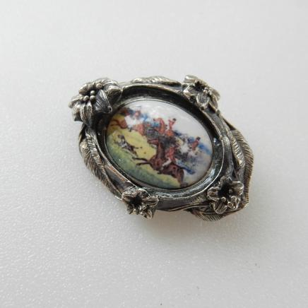 Photo of Silver Enamel Horse Hunt Brooch