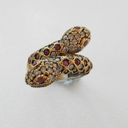 Photo of Sterling Silver Ruby & Cubic Zirconia Snake Ring