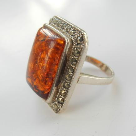 Photo of Sterling Silver & Amber Ring