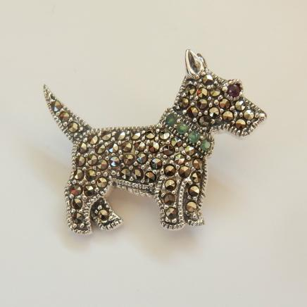 Photo of Silver Marcasite & Emerald Yorkie Dog Brooch