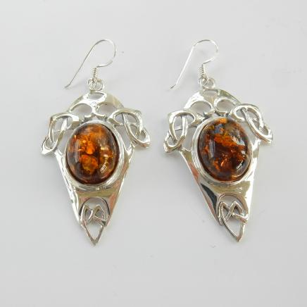 Photo of Vintage Celtic Baltic Amber Earrings