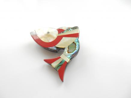 Photo of Early Bakelite Abalone & Enamel Inlay Fish Brooch