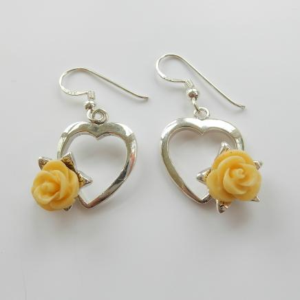 Photo of Sterling Silver Yellow Flower Earrings