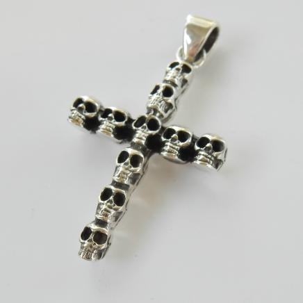 Photo of Sterling Silver Gothic Skull Crucifix