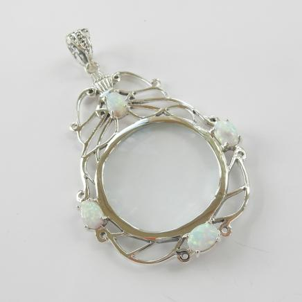 Photo of Silver & Opal Optical Glass Pendant