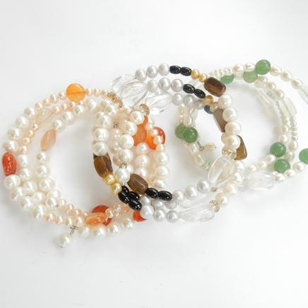 Photo of Pearl Tigers Eye & Jade Bracelet Stack