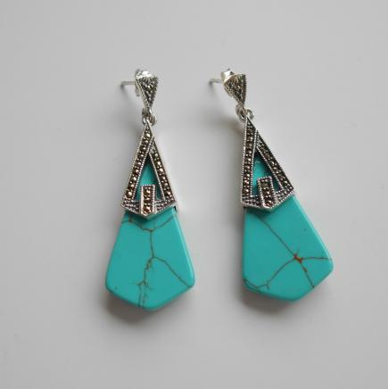 Photo of Art Deco Silver & Turquoise Earrings