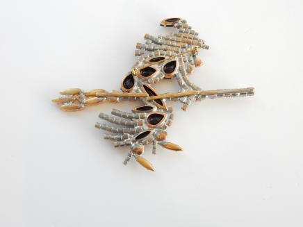 Photo of 1950s Czech Crystal Halloween Witch on Broomstick Brooch