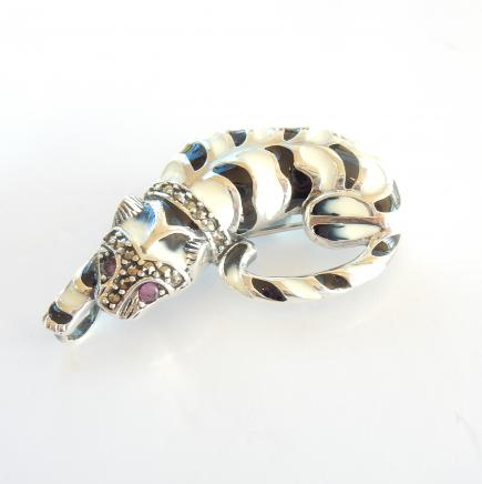 Photo of Enamelled Ruby Wild Tiger Brooch