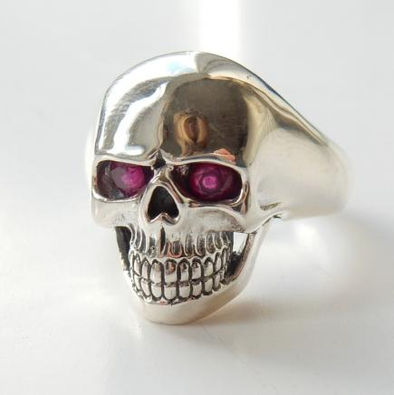 Photo of Solid Silver Real Ruby Skull Ring