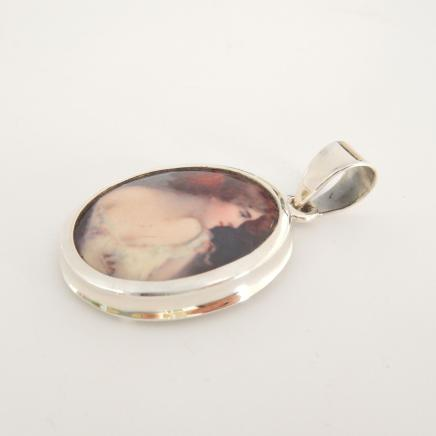 Photo of Solid Silver Enamel Portrait Pendant