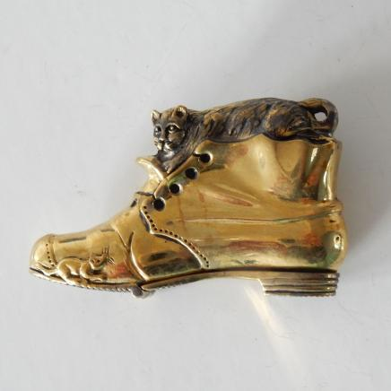 Photo of Novelty Polished Brass Cat in Boot Vesta
