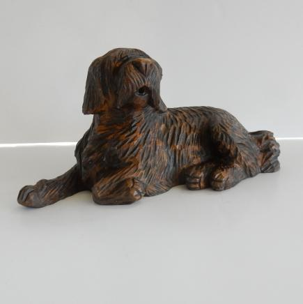 Photo of Vintage Wooden Carved Shaggy Haired Dog