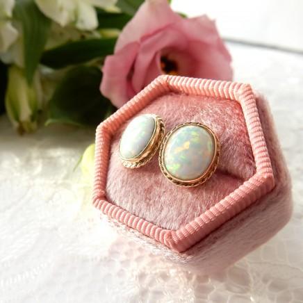 Photo of 9 Carat Gold Genuine Opal Cabochon Earrings Fine Jewelery