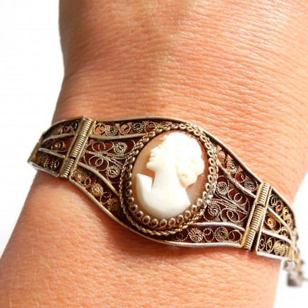 Photo of Antique 800 Silver Filigree Shell Cameo Bracelet