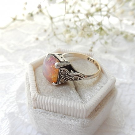 Photo of Antique Art Deco 9k Gold Dragons Breath Opal Sterling Silver Ring US Size 4 3/4