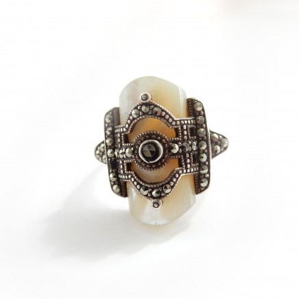 Photo of Antique Art Deco Mother of Pearl Marcasite Ring US Size 9.5
