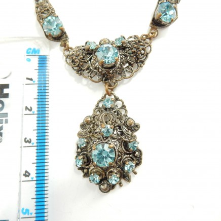 Photo of Antique Filigree Aqua Paste Glass Necklace