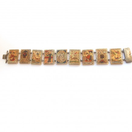 Photo of Antique Persian Shell Storybook Panel Bracelet Hand Painted