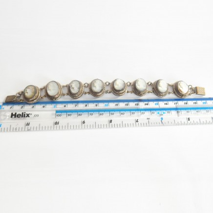 Photo of Antique Shell Pearl Cameo Bracelet Carved Cameo Continental Silver