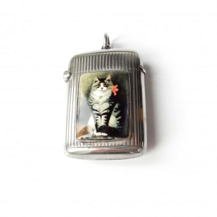 Photo of Antique Sterling Silver Enamel Tabby Cat Vesta Match Safe George Unite