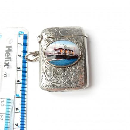 Photo of Antique Sterling Silver Enamel Titanic Ship Vesta Match Safe