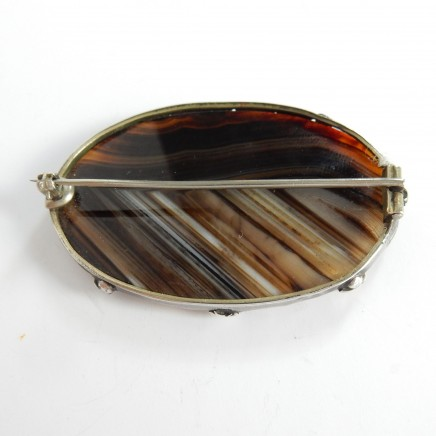Photo of Antique Victorian Silver Scottish Agate Brooch Pin