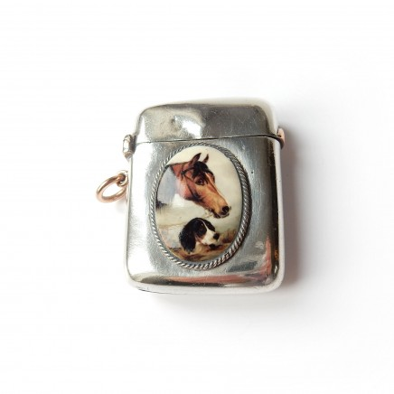 Photo of Antique Victorian Sterling Silver Enamel Horse Vesta Match Sampson Mordan 1899