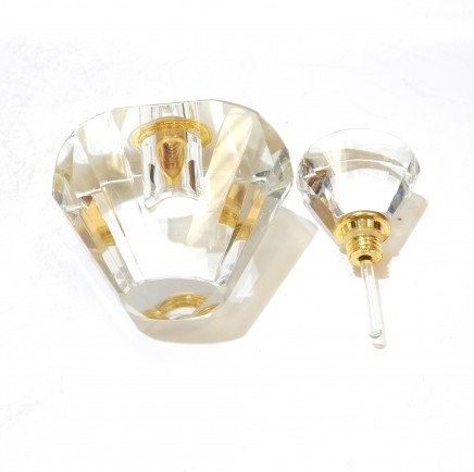 Photo of Art Deco Crystal Glass Gold Perfume Bottle Scent Bottle with Dibber