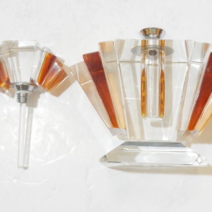 Photo of Art Deco Crystal Glass Perfume Bottle Scent Bottle with Dibber