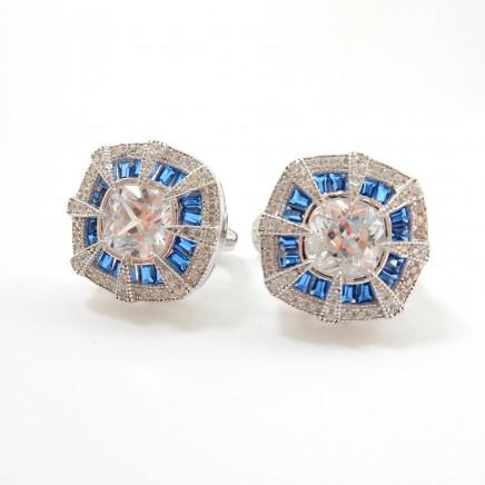 Photo of Art Deco Cubic Zirconia Blue Glass Earrings Sterling Silver Fine Jewelry