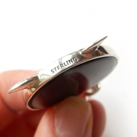 Photo of Art Deco Eagle Bird Onyx Pendant Sterling Silver