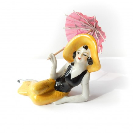 Photo of Art Deco German Porcelain Ceramic Bathing Beauty Lady Figure Pin Doll
