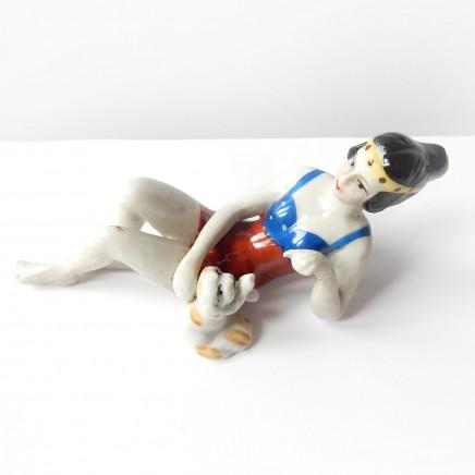 Photo of Art Deco German Porcelain Ceramic Lady Dog Pin Doll Half Doll