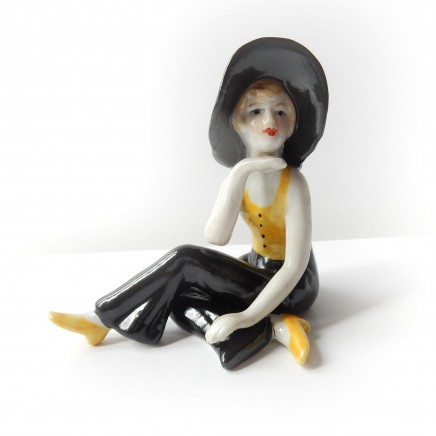 Photo of Art Deco German Porcelain Ceramic Lady Pin Doll Figure