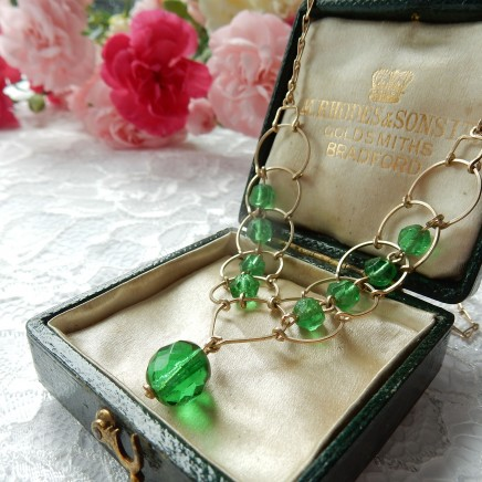 Photo of Art Deco Green Crystal Bead Necklace Lavalier Emerald Green Jewelery