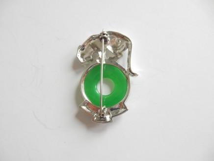 Photo of Art Deco Jade Wild Cat Brooch