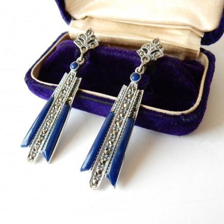 Photo of Art Deco Lapis Lazuli Marcasite Droplet Earrings Solid Silver