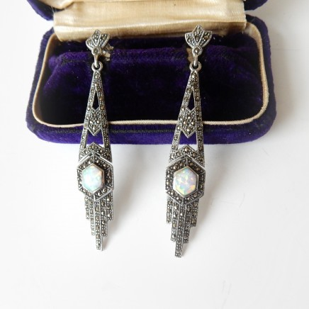 Photo of Art Deco Opal Marcasite Earring Solid Silver