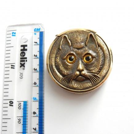 Photo of Brass Cat Vesta with Glass Eyes