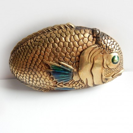 Photo of Brass Enamel Oriental Fish Vesta