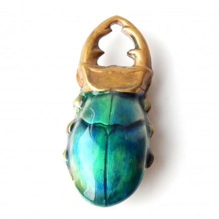 Photo of Brass Enamel Scarab Beetle Scorpion Vesta