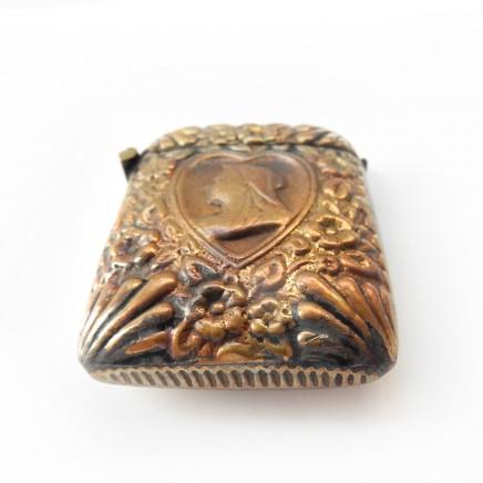 Photo of Brass Heart Flower Foliate Vesta Match Safe Snuff Box