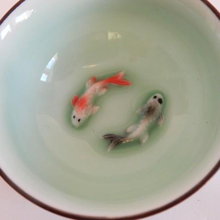 Photo of Chinese Oriental Glazed Porcelain Koi Carp Fish Bowl