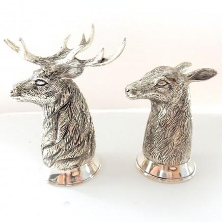 Photo of Continental 800 Silver Stag Deer Salt Pepper Pot Cruet Set Shooting Hunt Gift